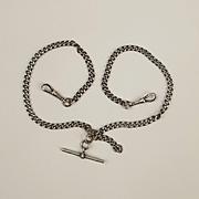 Silver Double Albert Watch Chain