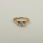 9ct Yellow Gold 0.10 CTW Diamond Solitaire Ring UK Size J+ US 5