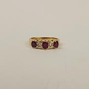 Egyptian 18ct Yellow Gold Ruby & Diamond Ring UK Size N US 6 ½
