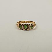 Edwardian c1906 18ct Yellow Gold Emerald & Diamond Ring UK Size O US 7