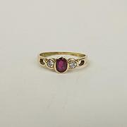 18ct Yellow Gold Ruby & Diamond Ring UK Size N+ US 6 ¾