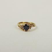 18ct Yellow Gold Sapphire & Diamond Ring UK Size M+ US 6 ¼