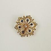 9ct Yellow Gold Diamond, Glass & Pearl Brooch