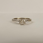 18ct White Gold 0.30CTW Diamond Solitaire Ring UK Size M+ US 6 ¼