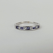 9ct White Gold Diamond & Iolite Ring UK Size P+ US 7 ¾