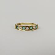 18ct Yellow Gold Diamond & Emerald Ring UK Size Q+ US 8 ¼