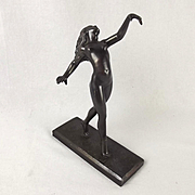 Art Deco Patinated Bronze Figure Of A Classical Nude By Otakar Steinberger