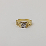 18ct Yellow Gold Diamond Ring UK Size O US 7