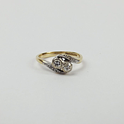 18ct Yellow Gold & Platinum Diamond Ring UK Size J US 4 ½