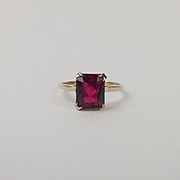 9ct Yellow Gold Ruby Ring UK Size Q US 8