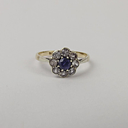 9Ct Yellow Gold & Platinum Sapphire & Quartz Flower Head Ring UK Size M+ US 6 ¼