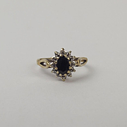 9ct Yellow Gold Sapphire & Diamond Flower Head Ring UK Size H US 3 ¾