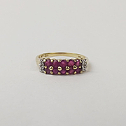 9ct Yellow Gold Ruby & Diamond Ring UK Size P+ US 7 ¾