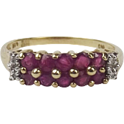 9ct Yellow Gold Ruby & Diamond Ring UK Size P+ US 7 ¾