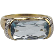9ct Yellow Gold Topaz Ring UK Size P+ US 7 ¾