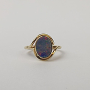 9ct Yellow Gold Opal Doublet Ring UK Size N+ US 6 ¾