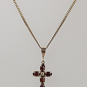 9ct Rose Gold Garnet & Cubic Zirconia Cross Pendant Necklace