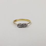 18ct Yellow Gold Three Stone Diamond Ring UK Size N US 6 ½
