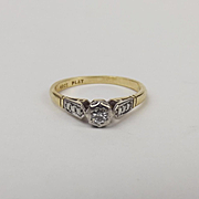 18ct Yellow Gold & Platinum Diamond Ring UK Size L US 5 ½
