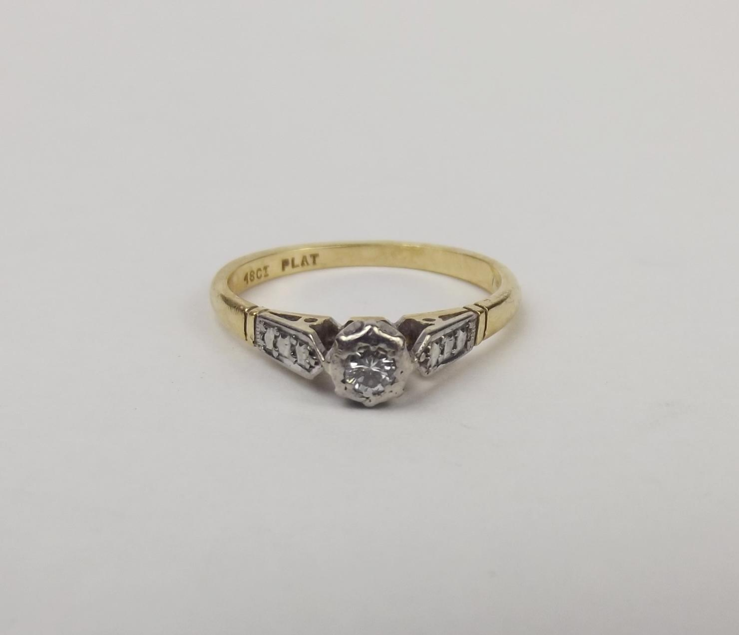 Yellow Gold Diamond Platinum: 18ct Yellow Gold & Platinum Diamond Ring UK Size L US 5 ½