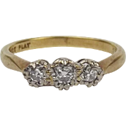 18ct Yellow Gold & Platinum Three Stone Diamond Ring UK Size L+ US 6