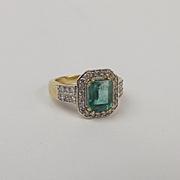 18ct Yellow Gold Emerald & Diamond Ring UK Size N+ US 6 ¾