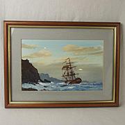 Les 'Jason' Spence Framed Watercolour Of A Ship At Sea c1990