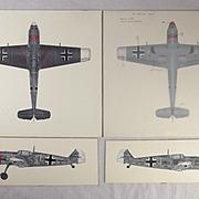 Original Set Of 4 Airfix Model 12002 Artwork 1/24 Messerschmitt BF 109E By R.L.Ward Airfix