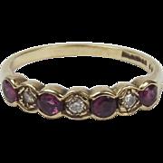 9ct Yellow Gold Ruby & Diamond Ring UK Size O+ US 7 ¼