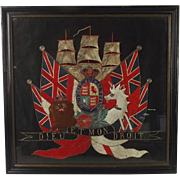 Framed Victorian Royal Navy Royal Arms Silk Work