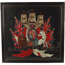 Framed Victorian Royal Navy Royal Arms Silk Work