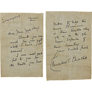 Clementine Churchill Signed Letter From 10 Downing Street c1943