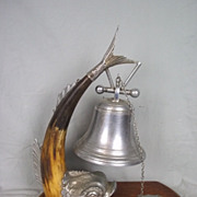Imposing Victorian Silver Plate and Horn Dolphin Table Bell by Thomas White, circa 1885 #2
