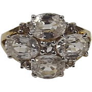 9ct Yellow Gold Topaz Cluster Ring UK Size O US 7