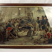 c1900 Chromolithographic Print of The Hero Of Trafalgar By W. H. Overend