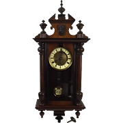 Circa 1900 German Mahogany Cased Wall Clock - Serviced