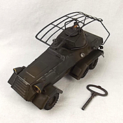 Circa 1937 Lineol German Radio Scout Car Clockwork Tin Plate Model