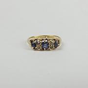 Late Victorian c1897 18ct Yellow Gold Sapphire & Diamond Ring UK Size K+ US 5 ½