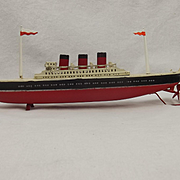 1940's-50's Three Stack Ocean Liner Tinplate Winding Toy