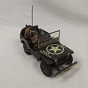 1950's Arnold Military Police Jeep Wind Up Tinplate Toy #3