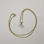 14ct Yellow Gold Chain Necklace With Pearl Pendant