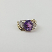 9ct Yellow Gold Amethyst & Diamond Ring UK Size O US 7