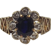 9ct Yellow Gold Sapphire & Diamond Flower Head Ring UK Size O+ US 7 ¼