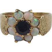 9ct Yellow Gold Sapphire & Opal Flower Head Ring UK Size O US 7