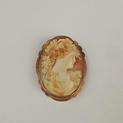 9ct Yellow Gold Large Cameo Brooch