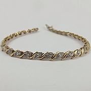 9ct Yellow Gold Diamond Bracelet