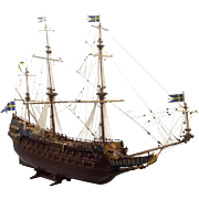 Well Finished Billings Model of 17th Century Vasa Swedish Warship, 1:75 Scale