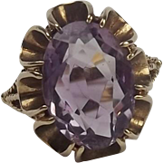 9ct Yellow Gold Amethyst Ring UK Size O+ US 7 ¼