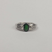 9ct White Gold Russian Diopside & Diamond Ring UK Size N+ US 6 ¾