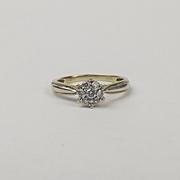 9ct Yellow & White Gold 0.20 CTW Diamond Ring UK Size N+ US 6 ¾